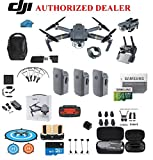 DJI Mavic PRO FLY MORE COMBO Portable Collapsible Mini Racing Drone with 3 Total Batteries, DJI Bag + 64GB SD Card + Reader, Car Charger, Landing gear, Prop Guards, Range Extender and More
