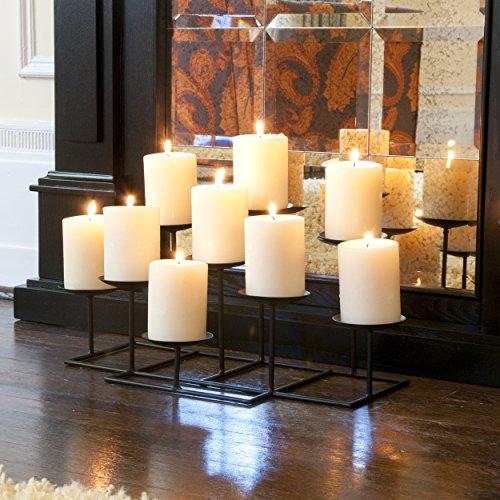 SEI Furniture 9 Candle Wrought Iron Candelabra, Matte Black