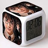 SXWY Harry Potter Digitaler Wecker Kinder Cartoon Wecker Bett Nachtlicht Musik Wach auf