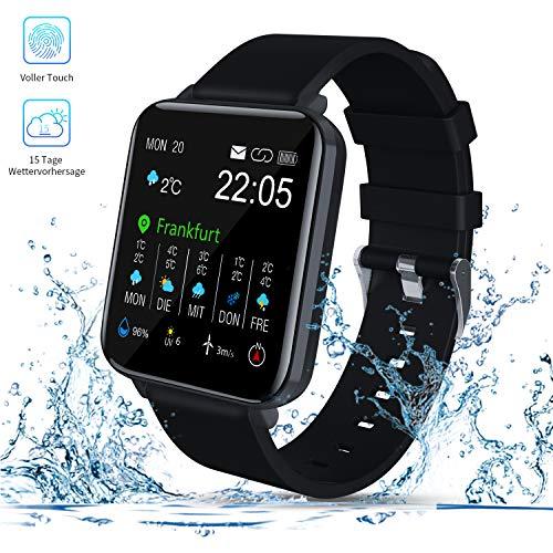 Smartwatch, Zagzog 1,54''Vollfarb-Touchscreen 15 Tage Wettervorhersage GPS-Tracking IP68 wasserdicht Fitness Sportuhr Unisex mit Schrittzähler Herzfrequenz Blutdruck Schlafüberwachung für IOS/Android