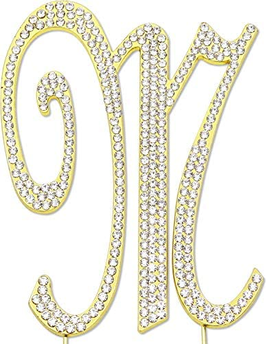 Sparkly Rhinestones Letter M Cake Topper Birthday Wedding Anniversary Gold Initial M product image