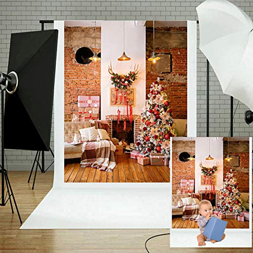 Winter Kerstmis Fotografie Achtergrond, Cottage Open Haard Gift Decoraties Achtergrond Zachte Duurzame Vinyl Foto Doek voor Baby Verjaardag Party Youtube Studio Props
