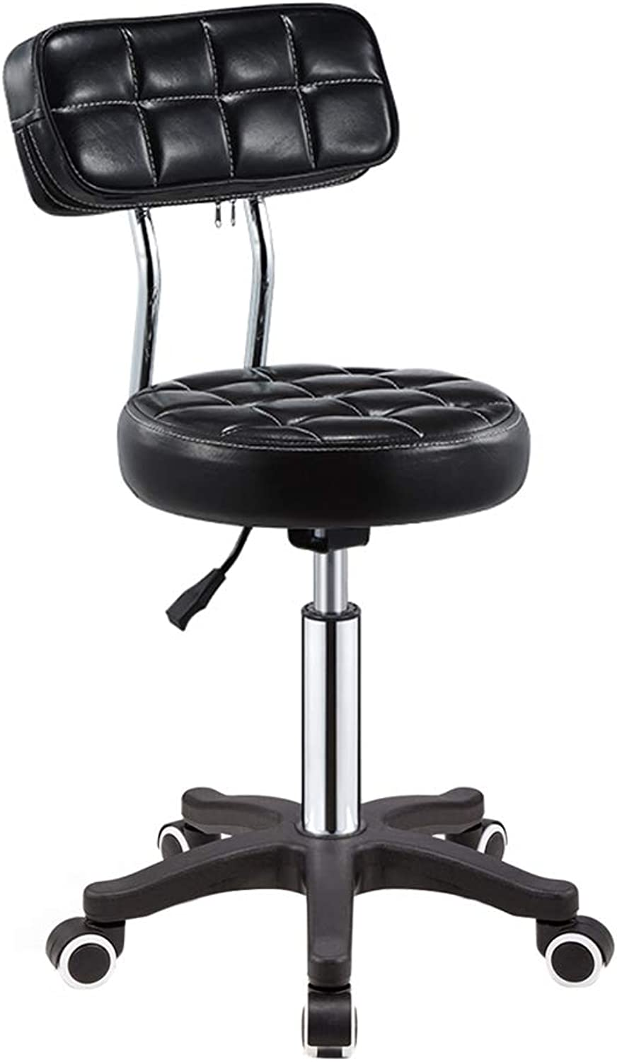 LIQICAI Bar Stool Universal Wheel Sliding Swivel Chair with Backrest Faux Leather Height Adjustable, 4 colors Optional (color   Black, Size   1 PCS)