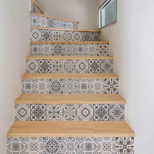 Ambiance Selbstklebende Treppenaufkleber Fliesen | Sticker Kontremarche Zementfliesen | Treppenfliesen | Treppe Zementfliesen selbstklebend - azulejos - 15 x 105 cm - 4 Streifen
