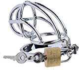 Stainless Steel Penis Rings Chastity Cage Cock Lock Ring Male Device Men Metal Gay Belt Sex Toys, Underwear Sunglasses (44mm)