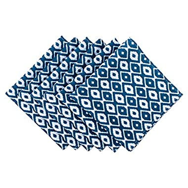 DII Cloth Napkins for Everyday Place Settings, Family Gatherings, BBQ's, Holiday Parties, Catering Events, Oversized & Stain Resistant for Indoor/Outdoor Use (20x20 - Set of 6) Blue Ikat