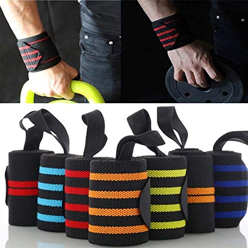 Gather together Light Yellow Wrist Support Gym Weight Lifting Training Weight Lifting Gloves Bar Grip Barbell Straps Wraps Hand Protection Wrap Tennis Cotton