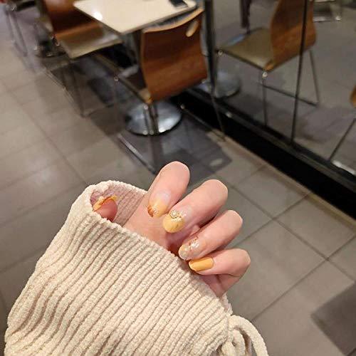 TJJF 24Pcs / Boxed Colore giallo Falsa stampa su prodotti finiti per unghie Consigli per le unghie Abito in colla Copertura completa Chiodo artificiale con colla per ragazza