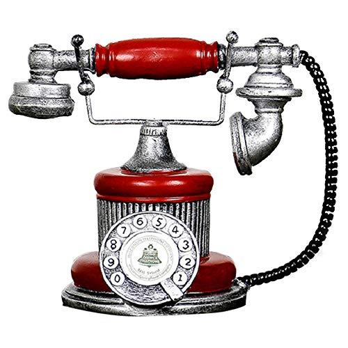 Teléfono antiguo creativo retro decorativo teléfono resina rotatorio marcación teléfono decoración cafetería bar decoración ventana decoración decoración del hogar accesorios (rojo)