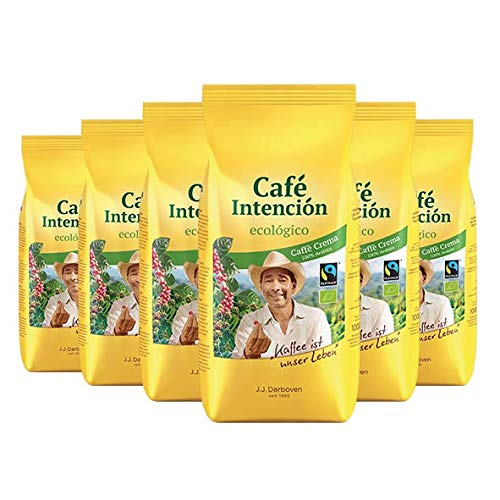 Fairtrade J.J.Darboven Café Intención ecológico Café Crema, Bio-Kaffee, Ganze Bohne - 1kg - 6x