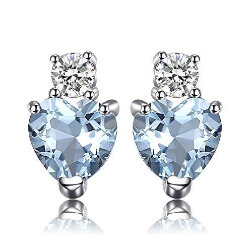 JewelryPalace Herz Liebe 1ct Natürliche Aquamarine Weiß Topas Post Ohrstecker 925 Sterling Silber