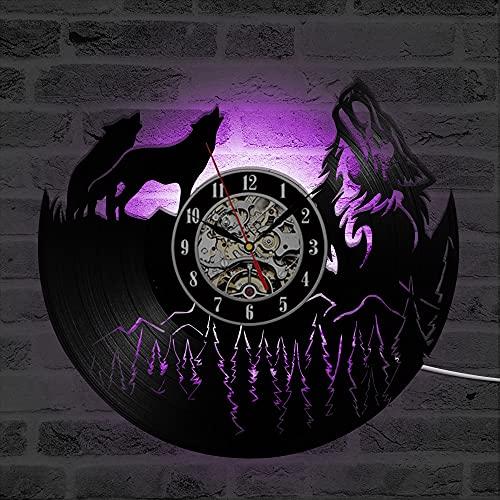 Fryymq (12 Pulgadas con LED) Reloj de Disco de Vinilo de Lobo Reloj de decoración de Pared de Dormitorio Vintage Regalo Hombres y Mujeres Reloj LED de Cuarzo Antiguo