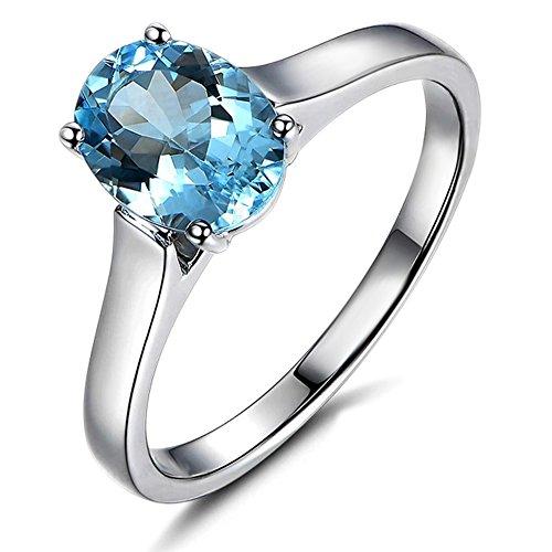 Kardy Unico Promettere Nozze Naturale Mare blu Pietra preziosa Acquamarina 585/1000 (14 carats) 14K Oro bianco Fidanzamento Nozze per donne anello