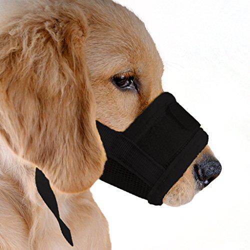 ubest Hund Maulkorb mit Klettverschluss, Gepolstert und Einstellbar Nylon, für meistens Hunde, Größe L, Schwarz