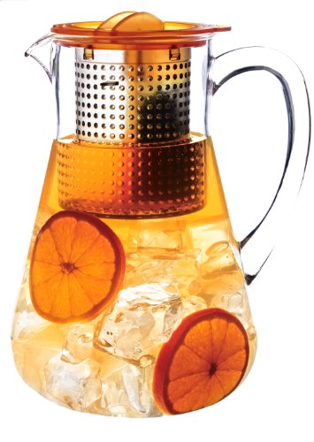 FINUM 66/428.60.70 - Caraffa con infusore Iced Tea Control, Ideale per la Preparazione di tè Freddi, meccanismo di Controllo dell'infusione, 1,8 l, Ambra