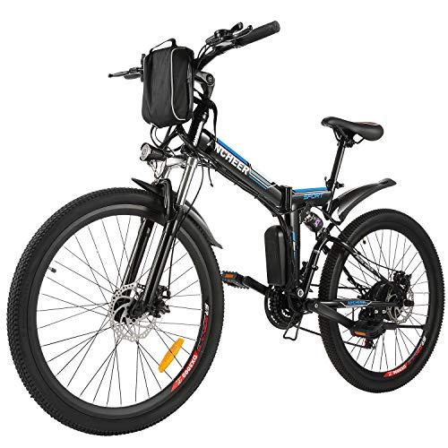 """BIKFUN 26"""" Bicicletta Elettrica Pieghevole, 250W Bici Elettriche, Batteria 36V 8Ah, Cambio Shimano 21 velocità, E-Bike para Adultos"""
