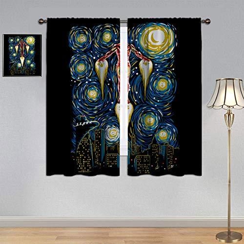 ARYAGO Black Out Cortinas The Avengers Iron Man Cortinas de Vincent Van Gogh Noche estrellada de eficiencia energética cortinas para dormitorio infantil 106 x 107 cm