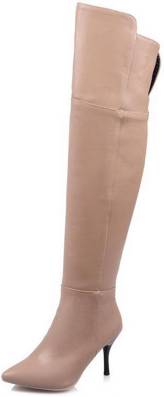 WeenFashion Women's PU High-top Solid Zipper High-Heels Boots