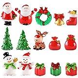 SUNSK Ornement de Noël Miniature Décoration de Noël Mini Pere Noel Sapin de Noel Décor Gateau pour Enfant Noël Cadeau DIY Table Bonsai Mini Ornements 15 Pièces