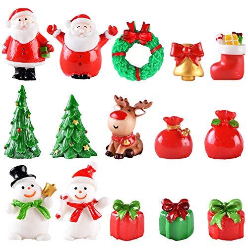 SUNSK Christmas Miniature Ornaments Snowman Santa Claus Christmas Tree Ornament Resin Christmas Decoration Cake Home Garden Party Desktop Decor 15 Pcs