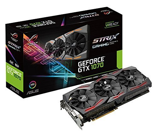 Asus ROG Strix GeForce GTX1070-O8G Gaming Grafikkarte (Nvidia, PCIe 3.0, 8GB GDDR5 Speicher, HDMI, DVI, DisplayPort) (Generalüberholt)