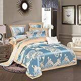 yaonuli Ensemble Haut de Gamme Quatre pièces en Jacquard satiné brodé, Style Auchan (Camel Bleu) Grand (Housse de Couette 220 * 240 Feuilles 250 * 270cm)
