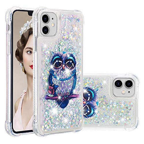 Asdsinfor iPhone 11 Case Fashion Shiny Transparent Soft TPU Creative Cartoon Cute Quicksand with Shiny Flowing Liquid Cover for iPhone 11 Gary Owl YB-LS