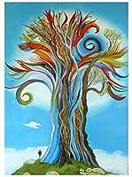 初心者のためのフルドリルダイヤモンドアート、生命の木の風景 5Dダイヤモンド 刺繡モザイククロスステッチ家の装飾ギフト12x16インチ/ 30x40cm