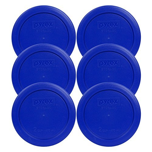 6 Pack! Pyrex Light Blue 2 Cup Round Storage Cover Item Number 7200-PC for Glass Bowls - True Blue Replacement Lid for Pyrex 2 Cup Bowls by Pyrex