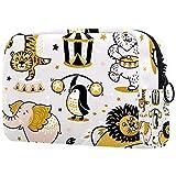 Neceser de Maquillaje para Neceser Estuche de Viaje cosmético Organizador Estuche para cosméticos Monedero,Circo Tigre Elefante León