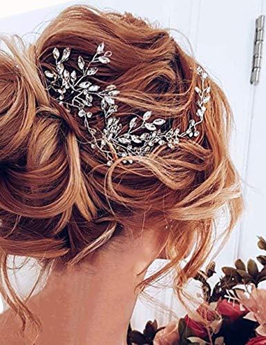 BestyuanBERYUAN - Diadema de cristal para novia, accesorio para el pelo de la novia, accesorio para el pelo de la novia, regalo de dama de honor, boda, joyería de halo, Dorado, 1.00[set de ]