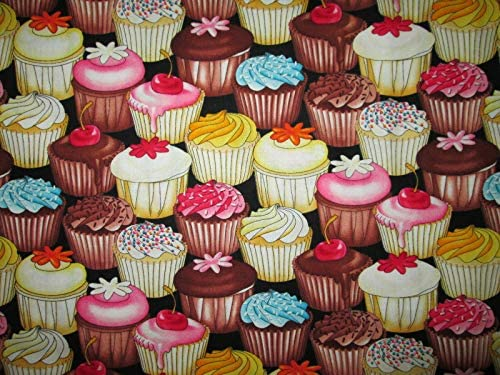 Quality Fabric Cup Cakes Cupcakes Bakery Sweets 100 Cotton Fabric Sizes Fat Quarter 18 x 22 product image