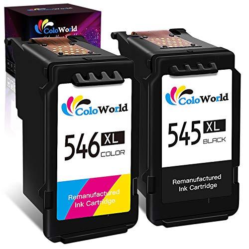 ColoWorld 545XL 546XL Remanufacturado Cartuchos de Tinta PG-545 XL Negro y CL-546XL Tricolor Compatible con Cannon TS3150 3151 MX495 MG2450/2550/2555S/2950/3050/3052/3053 IP2850 Impresoras, Pack de 2