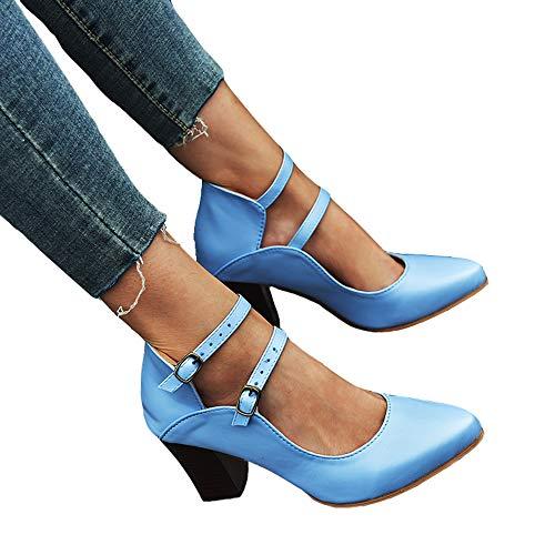Leren schoenen Dames Hoge vierkante hak Puntige neus 2 gespen Retro trouwen Jeanspompen Sandalen Hakken Schoenen