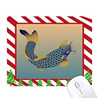 絵画文化青い魚 ゴムクリスマスキャンディマウスパッド