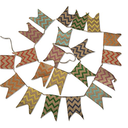 G2PLUS 3.7M Leinen Wimpel Hessischen Girlande Vintage Rustikal Süße Bunting Wimpelkette Farbenfroh Wimpeln für Draußen Hochzeit (Natürlich)