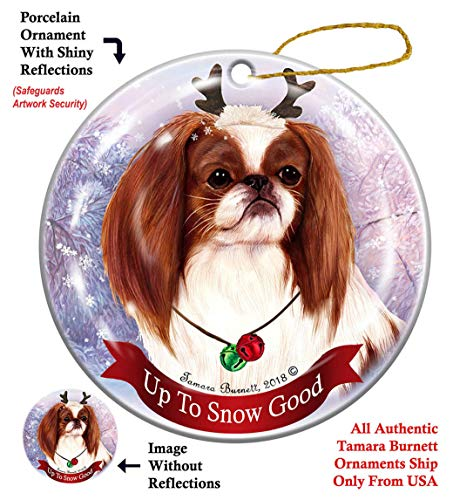 Holiday Pet Gifts Red and White Japanese Chin Dog Porcelain Christmas Ornament