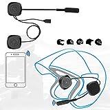 Deryang Auriculares para Casco Bluetooth, Respuesta automática/Manual Auriculares para Casco duraderos con Cable de Datos para Motocicleta para Moto