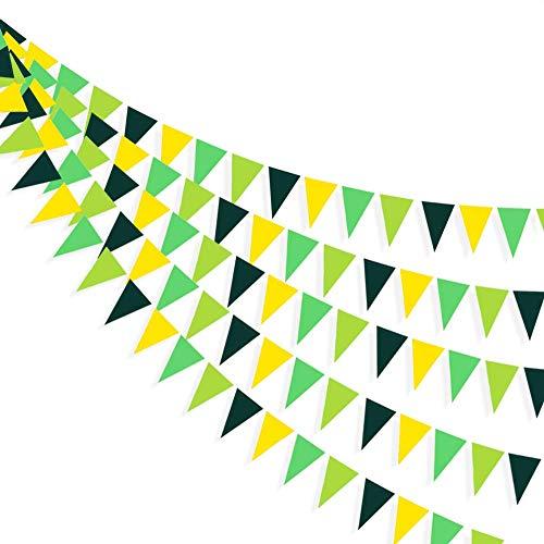 30Ft de color amarillo y verde. Decoración para fiestas colgantes. Triángulo de papel con bandera. Guirnalda para despedidas de soltera y fiestas de cumpleaños, bodas, baby shower, aniversarios