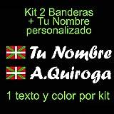 Vinilin Vinilo Bandera Pais Vasco (Ikurriña) + tu Nombre - Bici, Casco, Pala De Padel, Monopatin, Coche, Moto, etc. Kit de Dos Vinilos (Blanco)