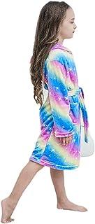 Kids Soft Bathrobe Comfortable Flannel Loungewear Sleepwear,Rainbow Galaxy Unicorns Robes 8-9 Years Old
