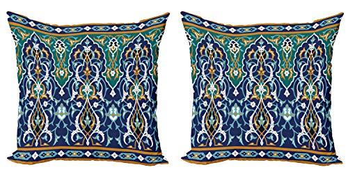 ABAKUHAUS Oriental Set de 2 Fundas para Cojín, Hippie Tribales, con Estampado en Ambos Lados con Cremallera, 45 cm x 45 cm, Azul Mostaza