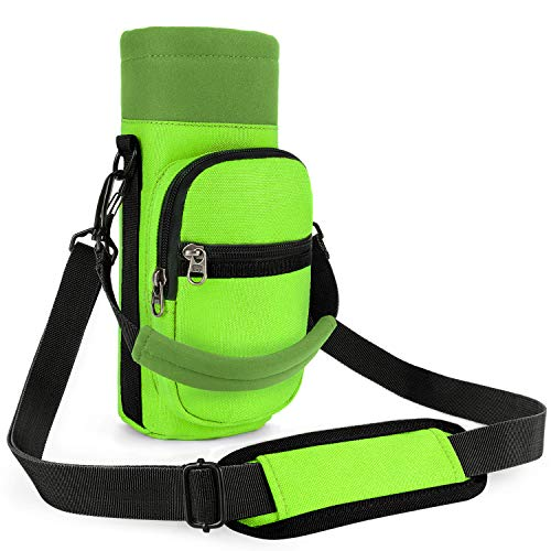 Barbarians Water Bottle Carrier, Bottle Pouch Holder with Adjustable Shoulder/Hand Strap 2 Pockets for Swell Type Bottle 16oz 20oz 24oz 25oz 32oz, Suitable for Hiking Travel Camping Fluorescent Green