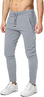 Men's Jogging Pants Cotton Jogger Sweatpants Lightweight Running Gym Athletic Pants with Zipper Pockets