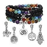 CrystalTears 108 Perlen Mala Kette Chakra Lava Armband Wickelarmband Edelstein Reiki Gebetskette mit Auswechselbar Anhänger