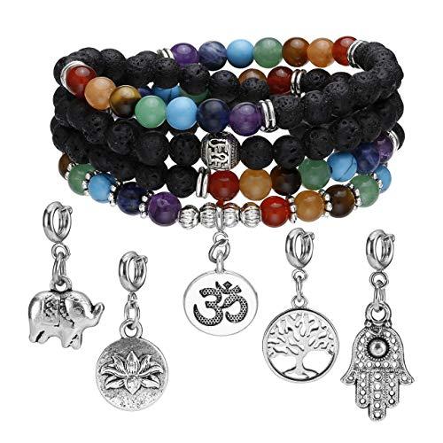 Jovivi 7 Chakra Lavastein Armband 6mm 108 Perlen Mala Kette OM Buddha Yoga Gebetskette Edelstein Wickelarmband Damen
