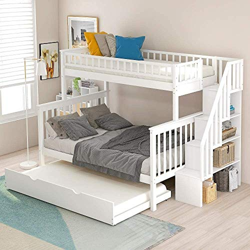 Solid Wood Twin Bunk Beds with Storage Drawers, Bunk Bed