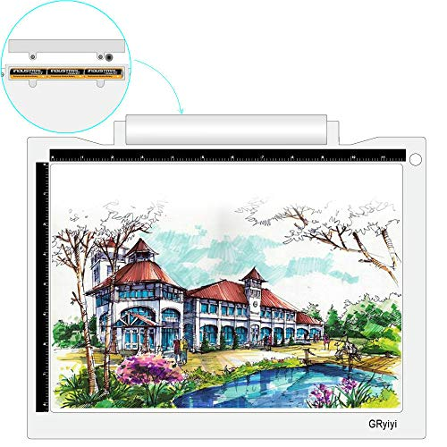 Portable Wireless A4 LED Light Pad for Tracing,5600 Lux Tracing Light Box with Battery Power LED Light Table,Gryiyi Tracing Light Boxes for Diamond Painting,Weeding Vinyl (White)