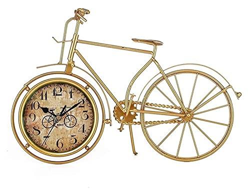HGJINFANF Design di prima classe, essenziale per la casa locale oro bicicletta orologio multifunzionale semplice personalità orologio silenzioso ferro decorazione orologio digitale
