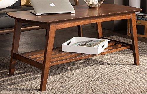 Baxton Studio Sacramento Mid-Century Modern Scandinavian Style Coffee Table, Dark Walnut
